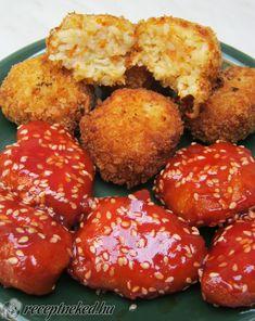 Kínai szezámmagos csirke zöldséges rizsgolyókkal Pretzel Bites, Ketchup, Bread, Ethnic Recipes, Food, Brot, Essen, Baking, Meals