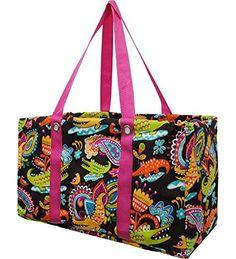 Crocodile Print Pink Trim Utility Tote - Handbags, Bling & More!