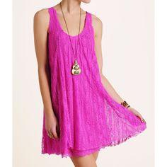 Free People Pink Lace Swing Dress Medium D1