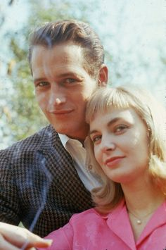 "paul newman and joanne woodward ( this looks like it was taken around the time she made ""Three Faces of Eve."""
