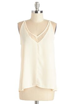 Dainty and Delightful Top - Mid-length, Sheer, Woven, White, Solid, Lace, Party, Girls Night Out, Halter, Spring, V Neck, White, Sleeveless