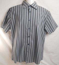 BEN SHERMAN Men's Size M Pen Striped Gray with Blue Short Sleeve Shirt #Grays #ButtonFront