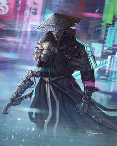 The Cyberpunk Ronin by Benjamin Goutte on ArtStation. Sci Fi Kunst, Cyberpunk Kunst, Cyberpunk Rpg, Cyberpunk Aesthetic, Fantasy Character Design, Character Concept, Character Inspiration, Character Art, Futuristic Samurai