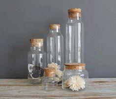 Set of Glass Cork Jars / Ocean Swept #decor #home
