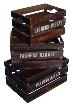 "Features:  -Nested set for space saving.  -Side handles.  -""Farmers Market"" labeled on all sizes.  -Wood crate with ""storage"" label.  Product Type: -Crates.  Quantity: -Set.  Style: -Rustic.  Primary"