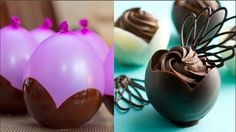 Amazing Chocolate Cakes Decorating ideas Compilation - How to make Balloon Chocolate Bowls - Free Cake Videos Chocolate Pastry, Modeling Chocolate, Chocolate Art, How To Make Chocolate, Chocolate Cakes, Chocolate Designs, Cake Decorating Videos, Cake Decorating Techniques, Decorating Ideas