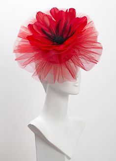 Red Poppy Headpiece Royal Ascot Hat Flower Special Occassion Wedding Derby Day At The Races Couture