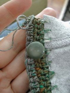 How to Upcycle a T-Shirt or a pullover sweater!!! into a Cardigan with a crocheted edging.