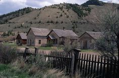A view down the abandoned main street of ghost town Bannack, Montana