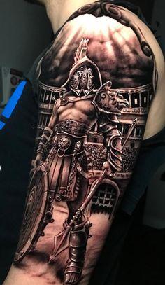 40 Awesome Gladiator Tattoos to Get Inspired - Photos and Tattoos - 40 Awesome Gladiator Tattoos to Get Inspired – Photos and Tattoos - Warrior Tattoo Sleeve, Viking Tattoo Sleeve, Warrior Tattoos, Viking Tattoos, Angel Warrior Tattoo, Body Armor Tattoo, Samurai Tattoo, Cool Forearm Tattoos, Badass Tattoos