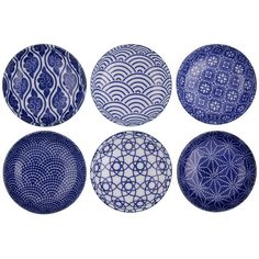 Tokyo Design Studio Nippon Blue Dipping Dish Gift Set - Set Of 6 ($51) ❤ liked on Polyvore featuring home, kitchen & dining, dinnerware, blue, microwave safe dishes, colored dishes, blue dish, porcelain dish and microwave safe dish