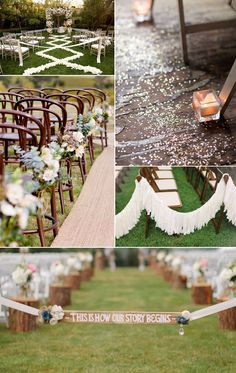 """Definitely want to do petals in a design down the aisle and this super cute """"This is how our story begins"""" sign to  tie it off so no one walks down the aisle before the bride."""