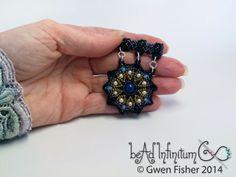 gwenbeads: Wisdom Mandala Pendant Blue Lapis Cream Pearl