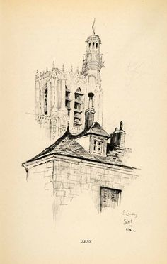 1934 Print Sens Church Bourgogne Gothic Cathedral Burgundy France Catholic XGT7