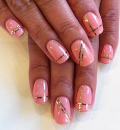 Bio Sculpture Gel colour: #155 - Jackie (Hollywood Collection)  Striping tape in Gold and Rose Gold