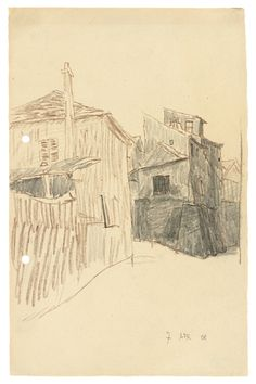 HÄUSER AUF MONTMARTRE By Lyonel Feininger Dimensions: 9.65 X 6.22 in (24.5 X 15.8 cm) Medium: Pencil and brown coloured pencil on paper Creation Date: 1908