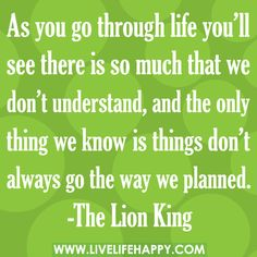 """As you go through life, you'll see there is so much that we don't understand. And the only thing we know is things don't always go the way we planned."" -The Lion King"