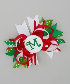 Another great find on #zulily! Red & White Initial Holiday Princess Bow Clip #zulilyfinds