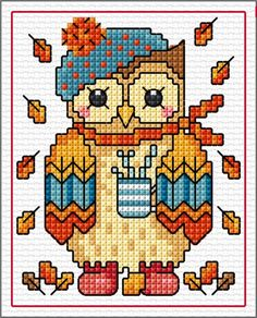 Pinned by Helen Weber Cross Stitch Owl, Cross Stitch Cards, Cross Stitch Samplers, Cross Stitch Animals, Cross Stitch Kits, Cross Stitching, Cross Stitch Embroidery, Funny Cross Stitch Patterns, Cross Stitch Designs