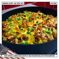 This Slimming World friendly dish is tater tots with sloppy joe mixture and topped with cheese and spring onions. You'll never look back, it's syn free!