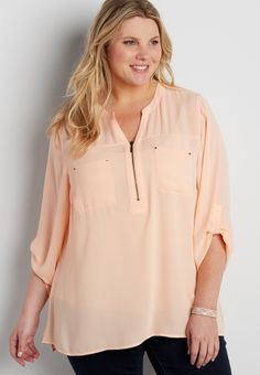 62d9ce7de32cd the perfect plus size blouse with zipper neckline. maurices