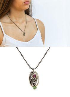 CIJ  Silver pendant necklace with Ruby & Turmaline by snirjewelry