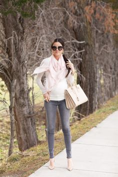 White tee, pink scarf, black jeans, gold accessories | Pink Peonies