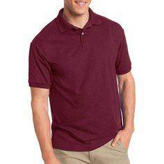 Hanes Big Men's EcoSmart Short Sleeve Jersey Golf Shirt, Size: 3XL, Red