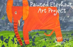 """1st Grade, Orange Painted Paper Elephant, Based on the book about Marc Chagall """"The Artist Who Painted a Blue Horse"""" by Eric Carle."""