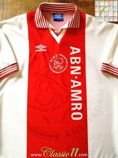 Official Umbro Ajax home football shirt from the 1995/1996 season.