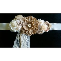 Burlap Flower Maternity Sash Maternity Belt Photo Prop Maternity Sash... ($45) ❤ liked on Polyvore featuring maternity, black i women's clothing