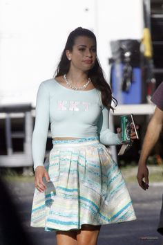 Lea Michele on the Scream Queens set