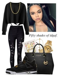 """""""Untitled #27"""" by its-jahelle-fam ❤ liked on Polyvore featuring WithChic, Rolex, Fremada, ban.do, Michael Kors and NIKE"""