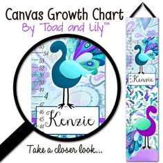 Canvas GROWTH CHART Pretty Purple Peacock Girls by ToadAndLily, $42.00