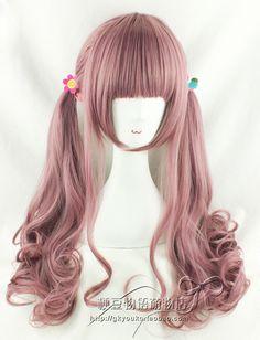 【kyouko假发】原宿/lolita/日常AMO同款 香芋紫粉混色空气卷70cm-淘宝网