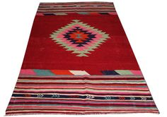 Red Rug Diamond Striped Pattern of Kilim Rug for by AreaRugsKilims
