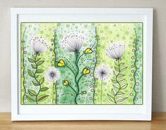 Original drawing Flowers landscape - Dandelions meadow https://www.etsy.com/listing/205275371/original-drawing-flowers-landscape?ref=shop_home_active_19