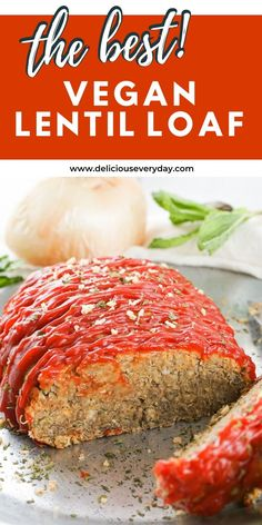 If you're looking to replace your usual meatloaf recipe, you're going to love this Vegan Lentil Loaf! Softened lentils, onion, breadcrumbs, and seasonings are perfectly combined to create one delicious meatless dinner. Top it with ketchup for the ultimate meatloaf replacement. Easy Vegan Dinner, Vegan Dinner Recipes, Vegan Dinners, Vegetarian Soup, Vegetarian Recipes, Bhg Recipes, Lentil Loaf, Potato Side Dishes, Vegan Comfort Food