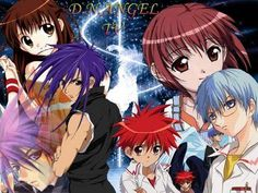D.N.Angel - from left to right Risa (twin of Riku), Dark (dark purple hair), Krad (light purple hair), Daisuke (Dark's tamer), Satoshi (Krad's tamer), Riku (Risa's Twin). In the anime, Daisuke winds up with Riku, while it hints at a possible future Romantic attraction between Satoshi and Risa. It might sound a little confusing at first, but it's well worth watching.