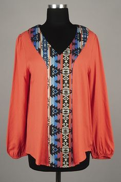 *** New Style *** Sheer Drop Waist Woven Blouse with Girly Peasant Sleeves Featuring Tribal Print Contrast Center Trim.