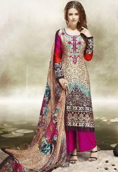 Cream and Brown Satin Cotton Palazzo Suit - Salwar Kameez - Women