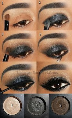 Grey, brown and gold shimmer eye shadow tutorial for a perfect smokey evening eye #makeup...x
