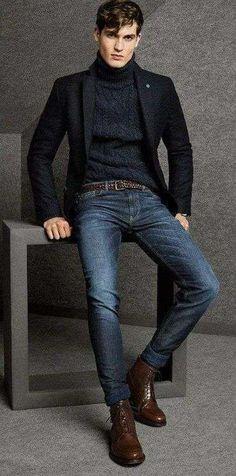 Abbinare la giacca ai jeans - Giacca blu e jeans da uomo