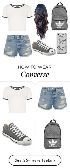 """Sin título #138"" by erikabojorquez on Polyvore featuring Topshop, Frame, Converse, adidas and Music Notes"