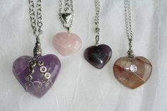 Heart Necklaces (367p - 371p): Amethyst Heart Necklace, Rose Quartz Heart Necklace, Auralite Heart Necklace, Golden Healer Heart Necklace