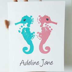Seahorse Nautical Girls Nursery Art in Coral & Aqua using your Baby's Footprints by PitterPatterPrint
