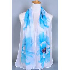 3.97$  Buy here - http://dix0t.justgood.pw/go.php?t=172294102 - Chic Big Flower Painting Pattern Chiffon Scarf For Women 3.97$