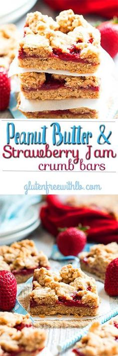 Peanut Butter & Strawberry Jam Crumb Bars |  A gluten free crumb bar recipe that has a peanut butter crust and homemade strawberry jam filling.  It makes a wonderful snack or dessert recipe!