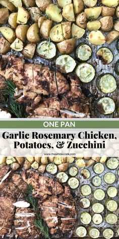 This garlic rosemary chicken dinner is a complete meal with potatoes & zucchini! Plus it's great for a Whole 30, Paleo, Gluten-Free, or just plain clean eating lifestyle!