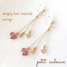 大人可愛いswinging heart*ハート*スワロフスキー① | ハンドメイドマーケット minne Ear Jewelry, Cute Jewelry, Beaded Jewelry, Jewelry Making, Jewellery, Handmade Accessories, Handmade Jewelry, Tiny Earrings, Designer Earrings